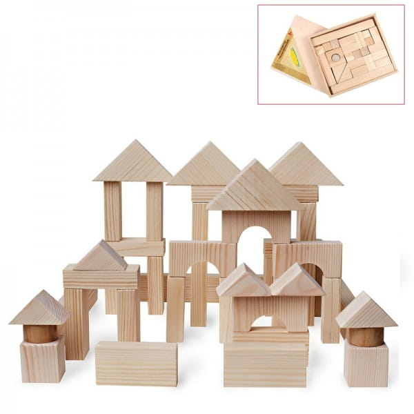 Деревянный конструктор PAREMO - 51 деталь (неокрашенный, в деревянном ящике)
