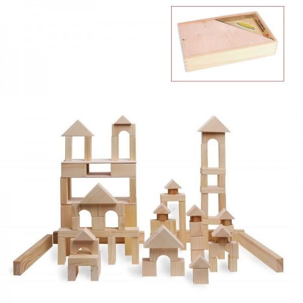 Деревянный конструктор PAREMO - 85 деталей (неокрашенный, в деревянном ящике)