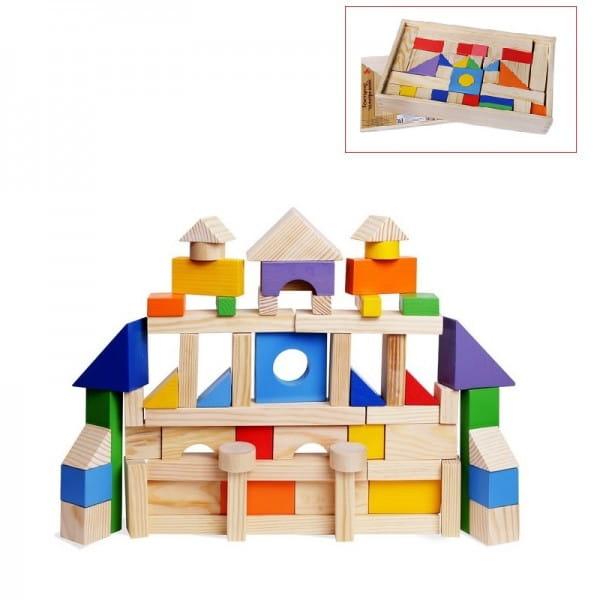 Деревянный конструктор PAREMO - 85 деталей (окрашено 20 деталей, в деревянном ящике)