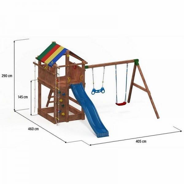 Игровой комплекс Paremo PS217-07 (домик с тентом, горка с лестницей, песочница, канат, веревочная лестница, скалолазная доска и 2 качели)