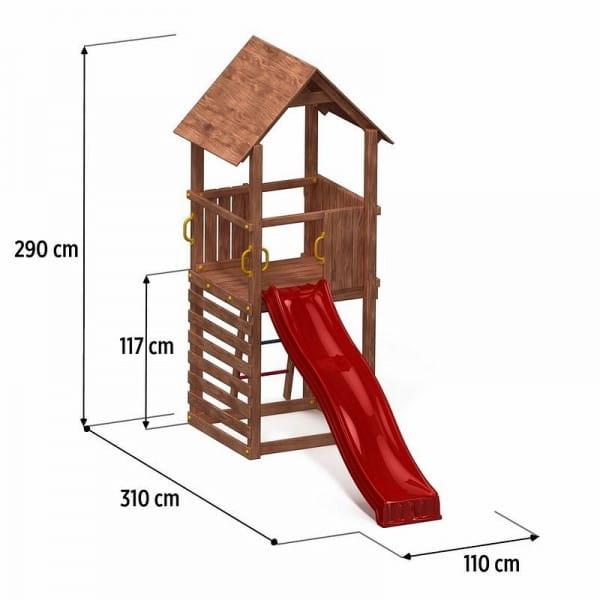Игровой комплекс Paremo PS217-02 (домик с песочницей и 2-скатной крышей и горкой)