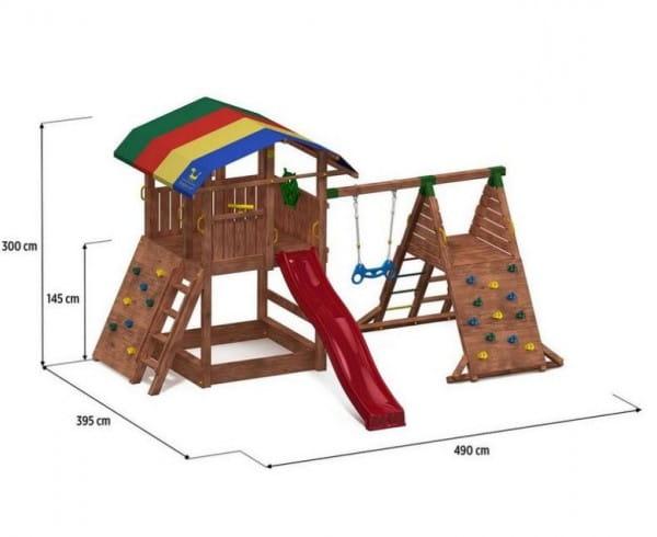 Игровой комплекс Paremo PS217 (домик с песочницей, тентом, горкой и 2-мя качелями)