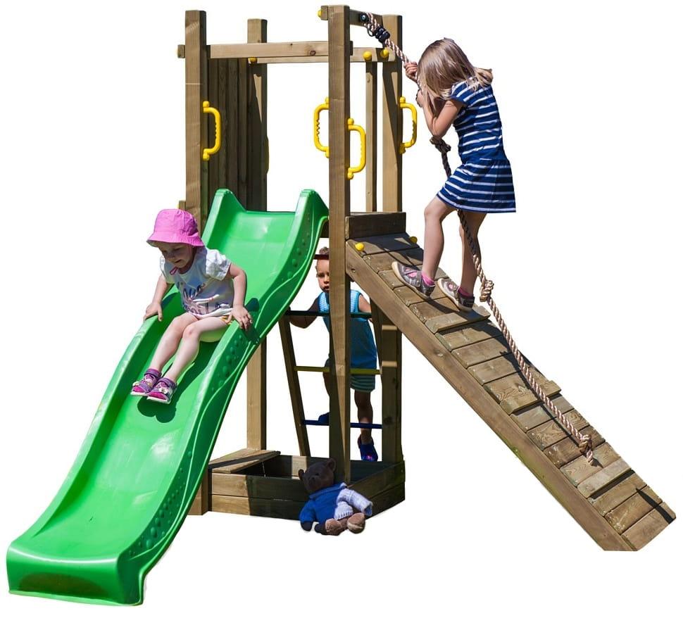 Игровой комплекс Paremo PS217-04 (доска для взбираний, канат, песочница и горка с лестницей)
