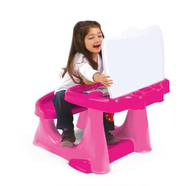 Парта Dolu DL_7060 со скамейкой и открывающейся столешницей - розовая
