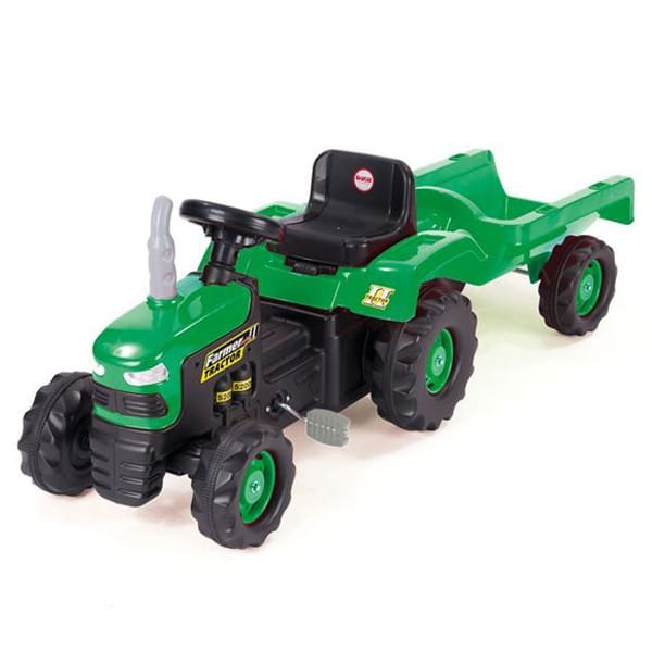 Педальный трактор Dolu с прицепом - зелено-черный