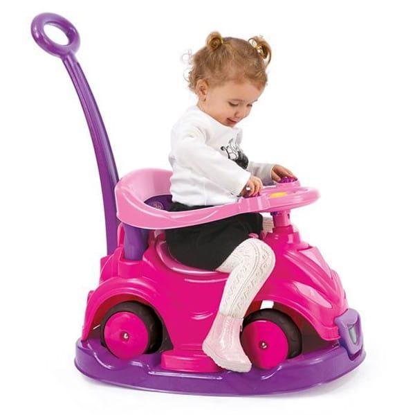 Автомобиль-каталка Dolu 4 в 1 с родительской ручкой - розовый