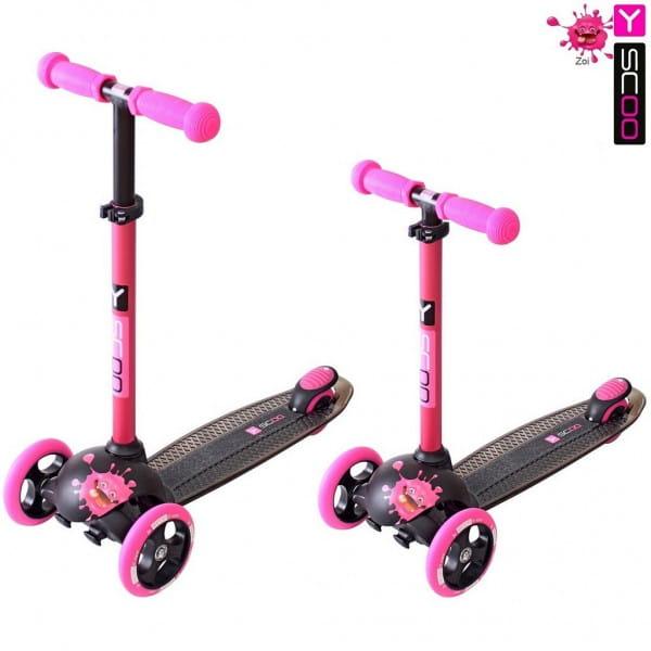 Самокат Y-Scoo 5871 RT Trio Dianond 120 Monsters 3 высоты - Pink Zoi