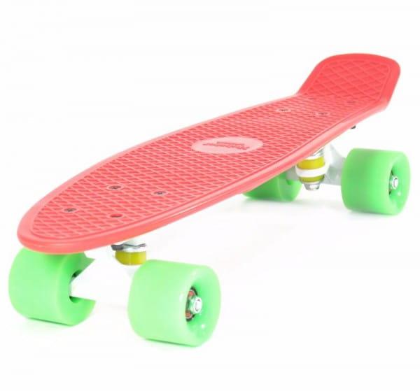 Скейтборд Hubster Cruiser 22 - красный с зелеными колесами