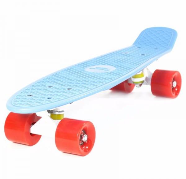 Скейтборд Hubster Cruiser 22 - синий с красными колесами