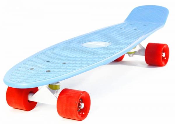 Скейтборд Hubster Cruiser 27 - синий с красными колесами