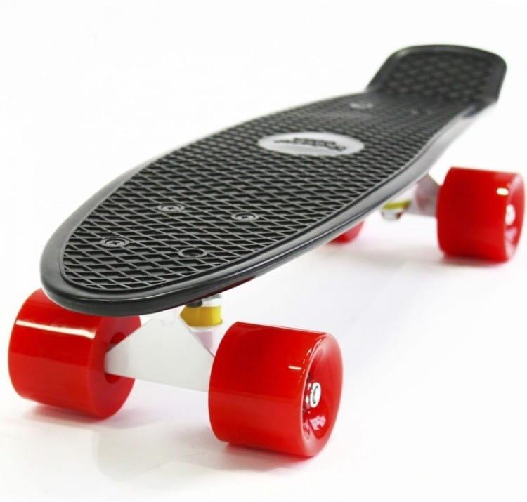 Скейтборд Hubster 9382П Cruiser 27 - черный с красными колесами