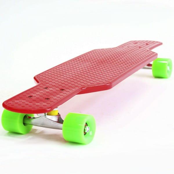 Скейтборд Hubster Cruiser 29 - красный с зелеными колесами