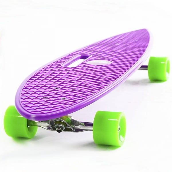 Скейтборд Hubster Cruiser 36 - фиолетовый с зелеными колесами