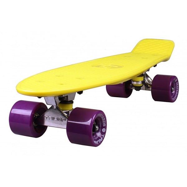 Скейтборд Triumf Active во2920 TLS-401 - желтый с филетовыми колесами