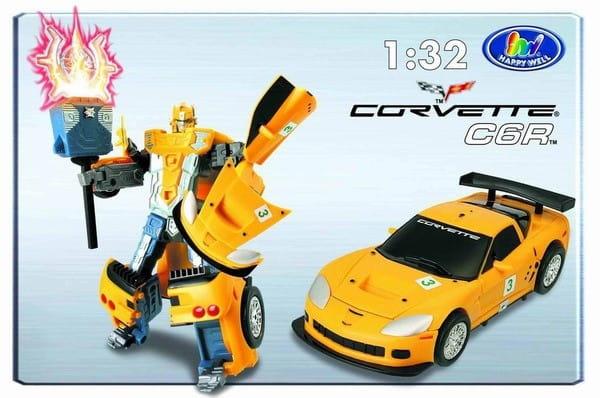 Робот-трансформер Happy Well 52070 Chevrolet Corvette C6R 1:32 со световыми эффектами