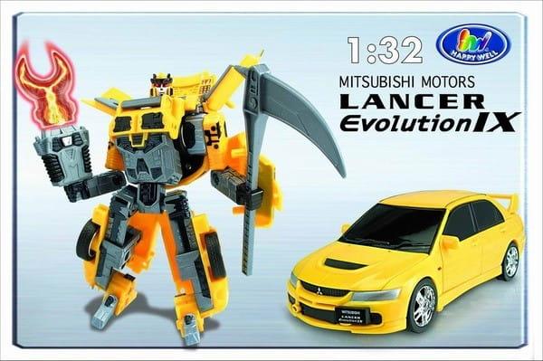 Робот-трансформер HAPPY WELL Mitsubishi Lancer Evolution IX 1:32 со световыми эффектами