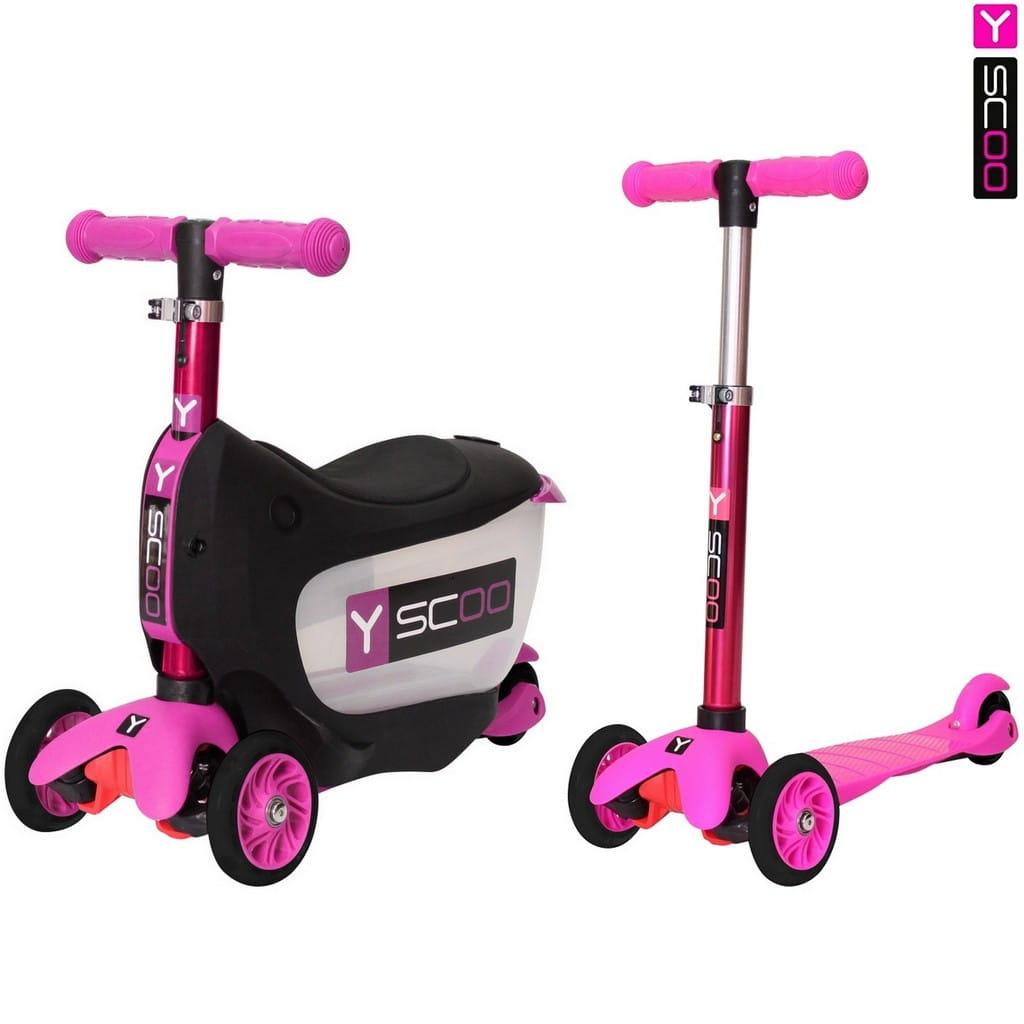 Каталка-самокат Y-Scoo 5846 Mini Jump and Go - Pink 3 в 1