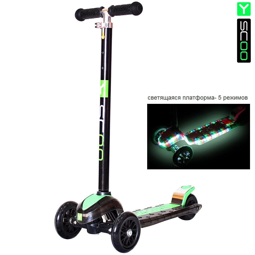Самокат Y-Scoo 5857 Maxi Laser Show - Black-green