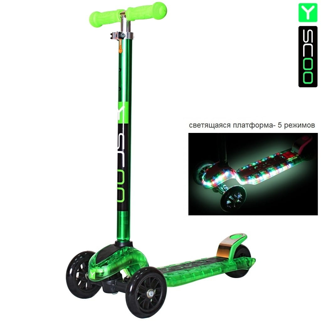 Самокат Y-Scoo 5861 Maxi Laser Show - Green metallic