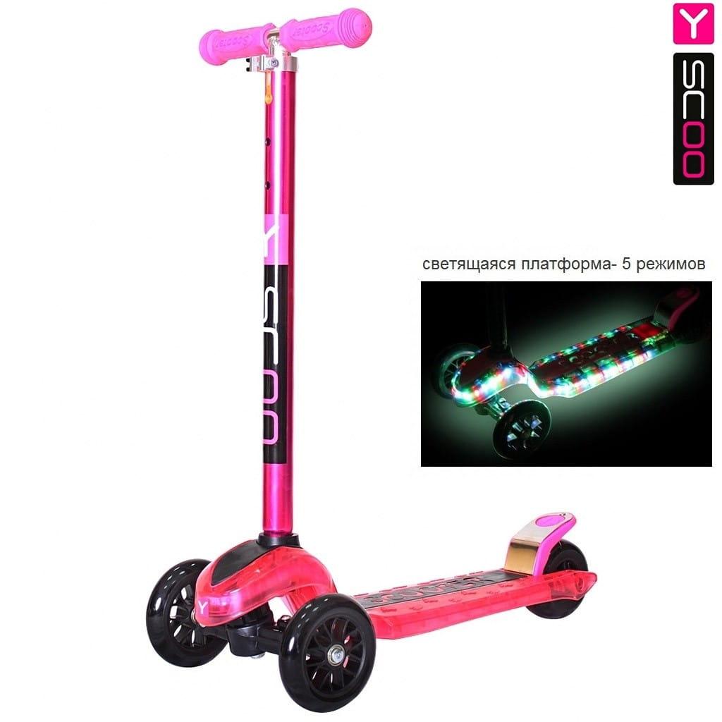 Самокат Y-Scoo 5862 Maxi Laser Show - Pink metallic