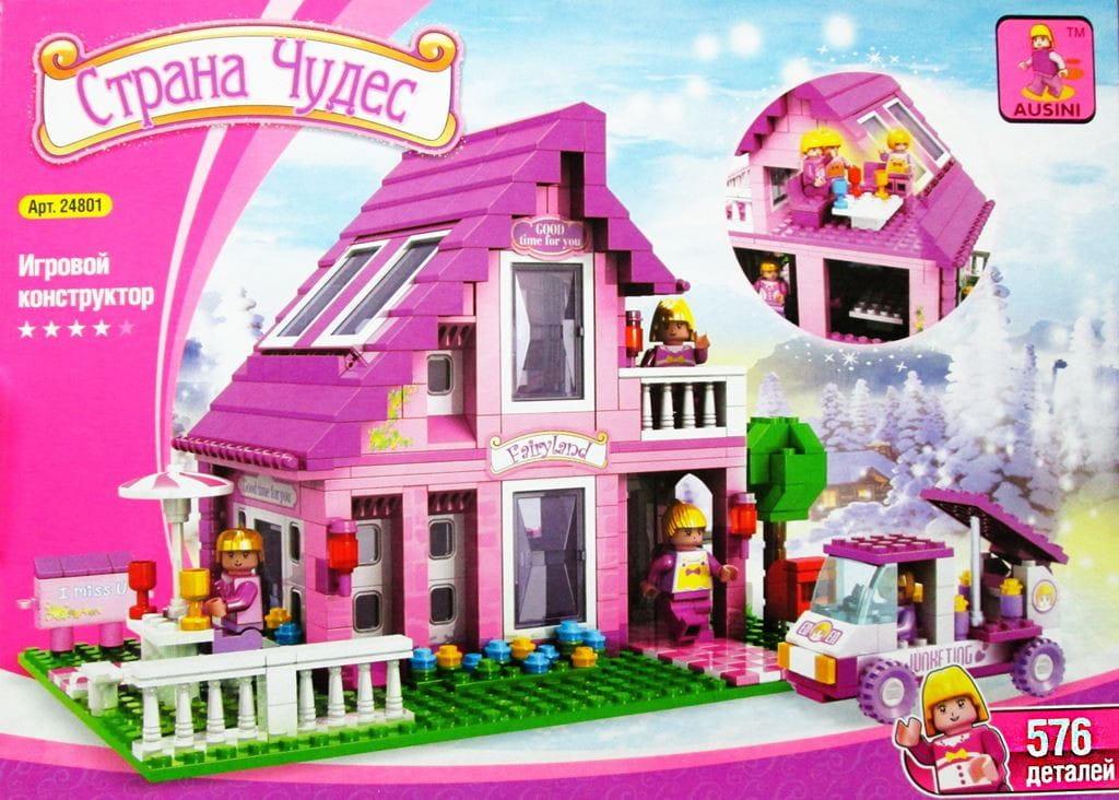 Конструктор AUSINI Страна Чудес Розовый дом - 576 деталей