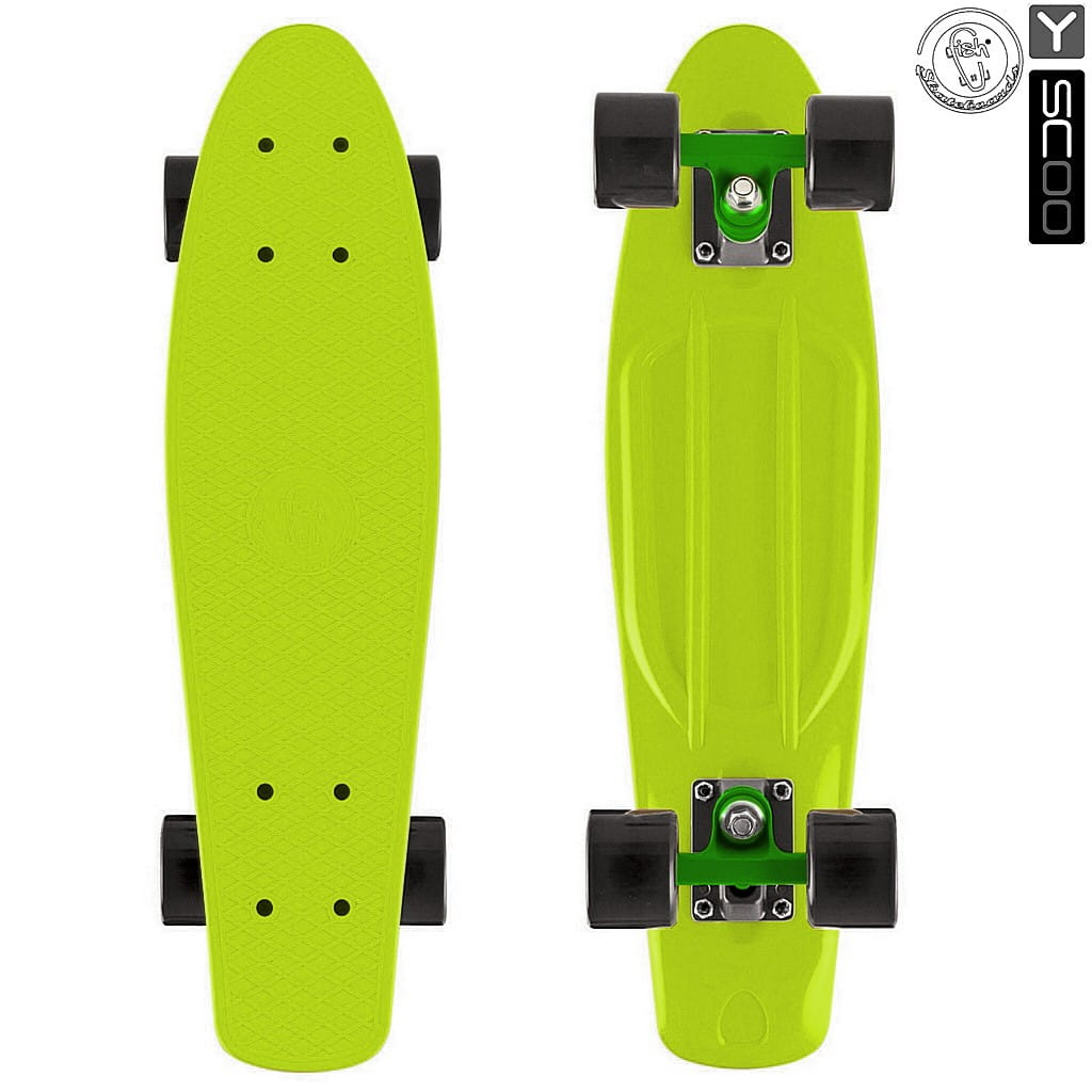 Скейтборд Y-Scoo 5984 Fishskateboard 22 дюйма - Lime-black
