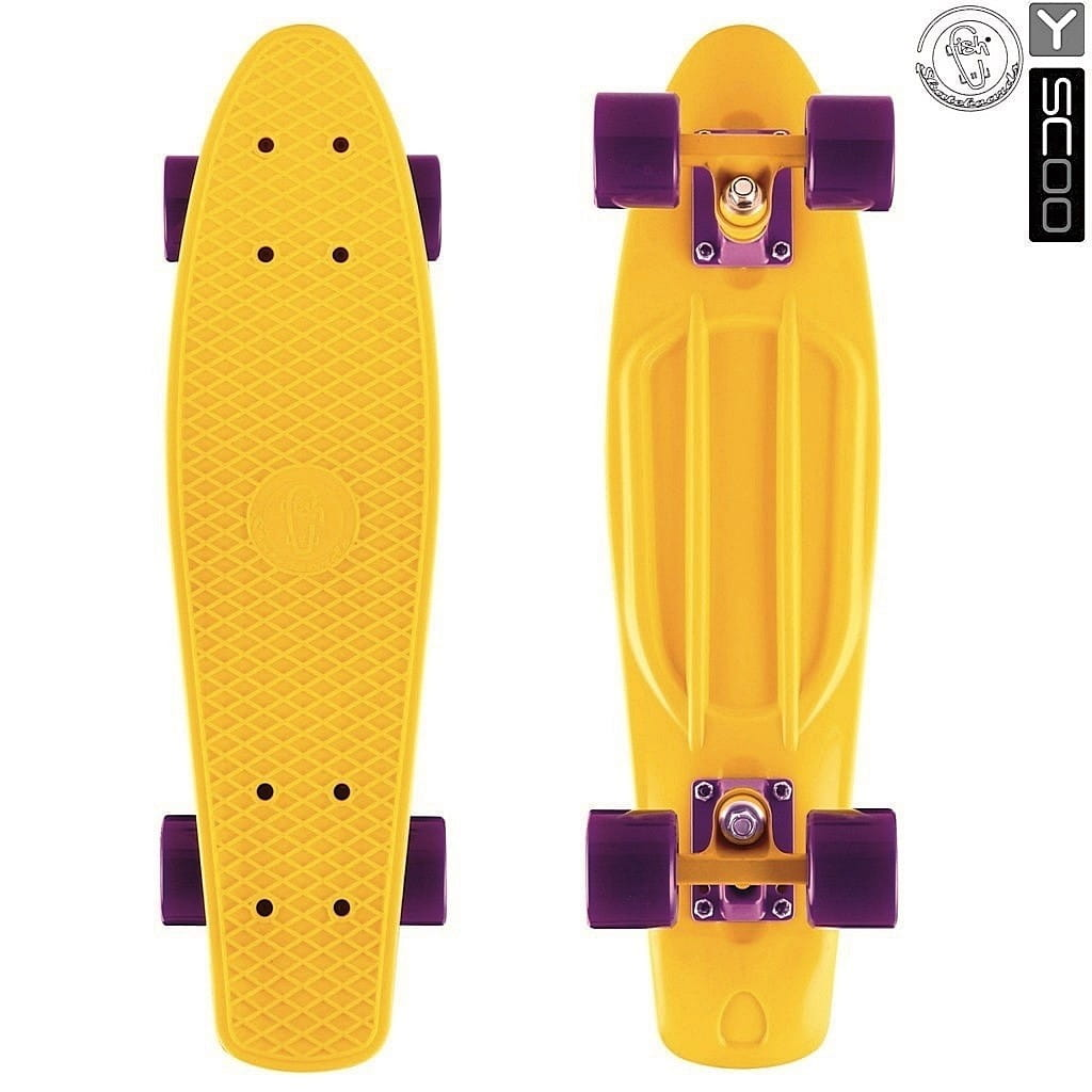 Скейтборд Y-Scoo 5817 Fishskateboard 22 дюйма - Yellow-dark purple
