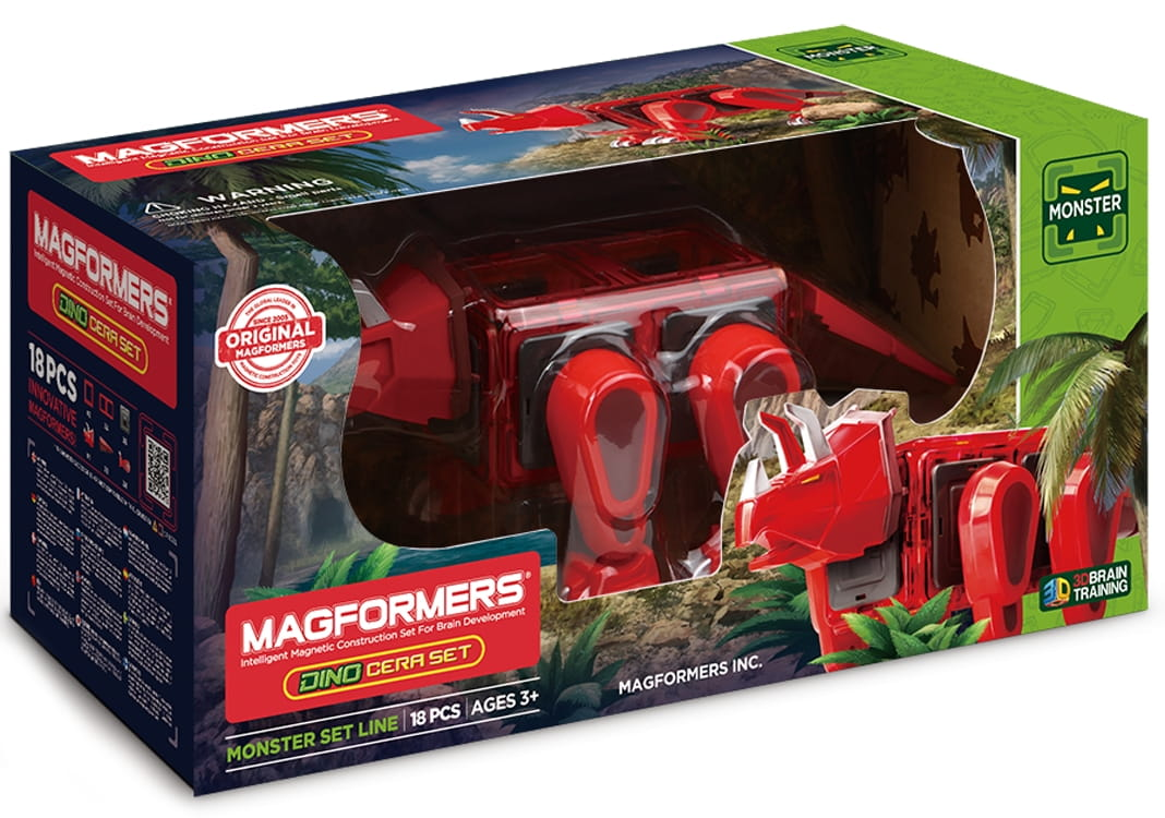 Магнитный конструктор Magformers 716002 Dino Cera Set (18 деталей)