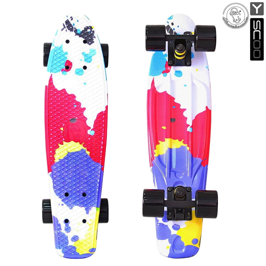 Скейтборд Y-Scoo 5826 Fishskateboard 22 дюйма - Splatter