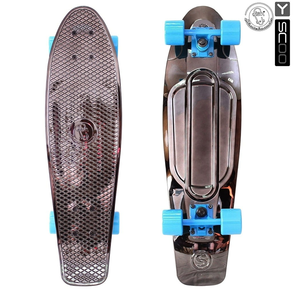Скейтборд Y-Scoo 5922 Fishskateboard Metallic 27 дюймов - Black bronzat-blue