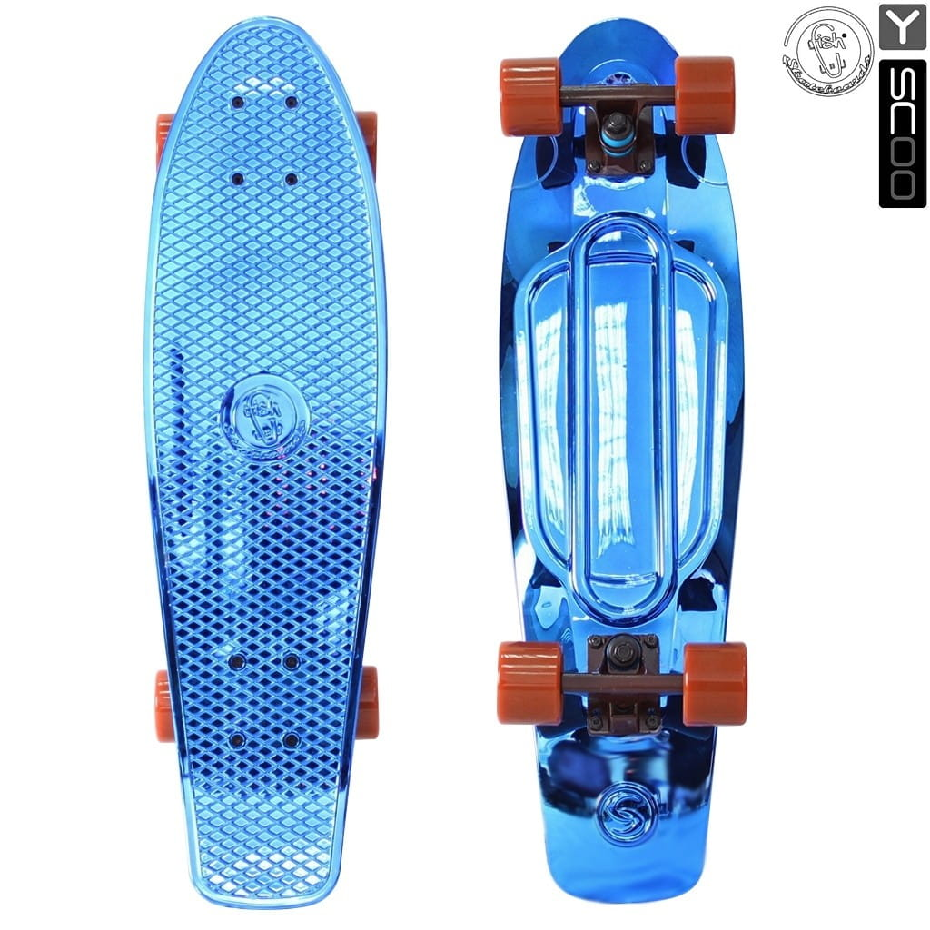 Скейтборд Y-Scoo 5924 Fishskateboard Metallic 27 дюймов - Blue-brown