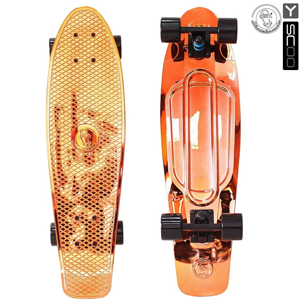 Скейтборд Y-Scoo 5923 Fishskateboard Metallic 27 дюймов - Orange-black