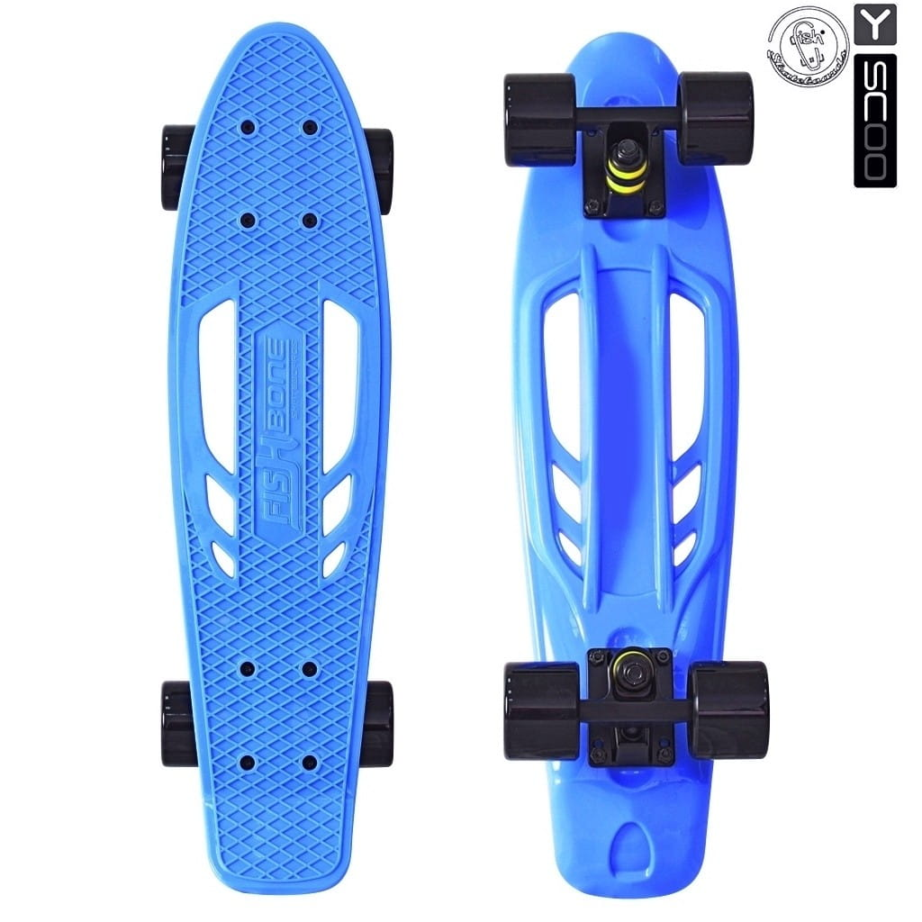 Скейтборд Y-Scoo 5824 Skateboard Fishbone 22 дюйма - Blue-black