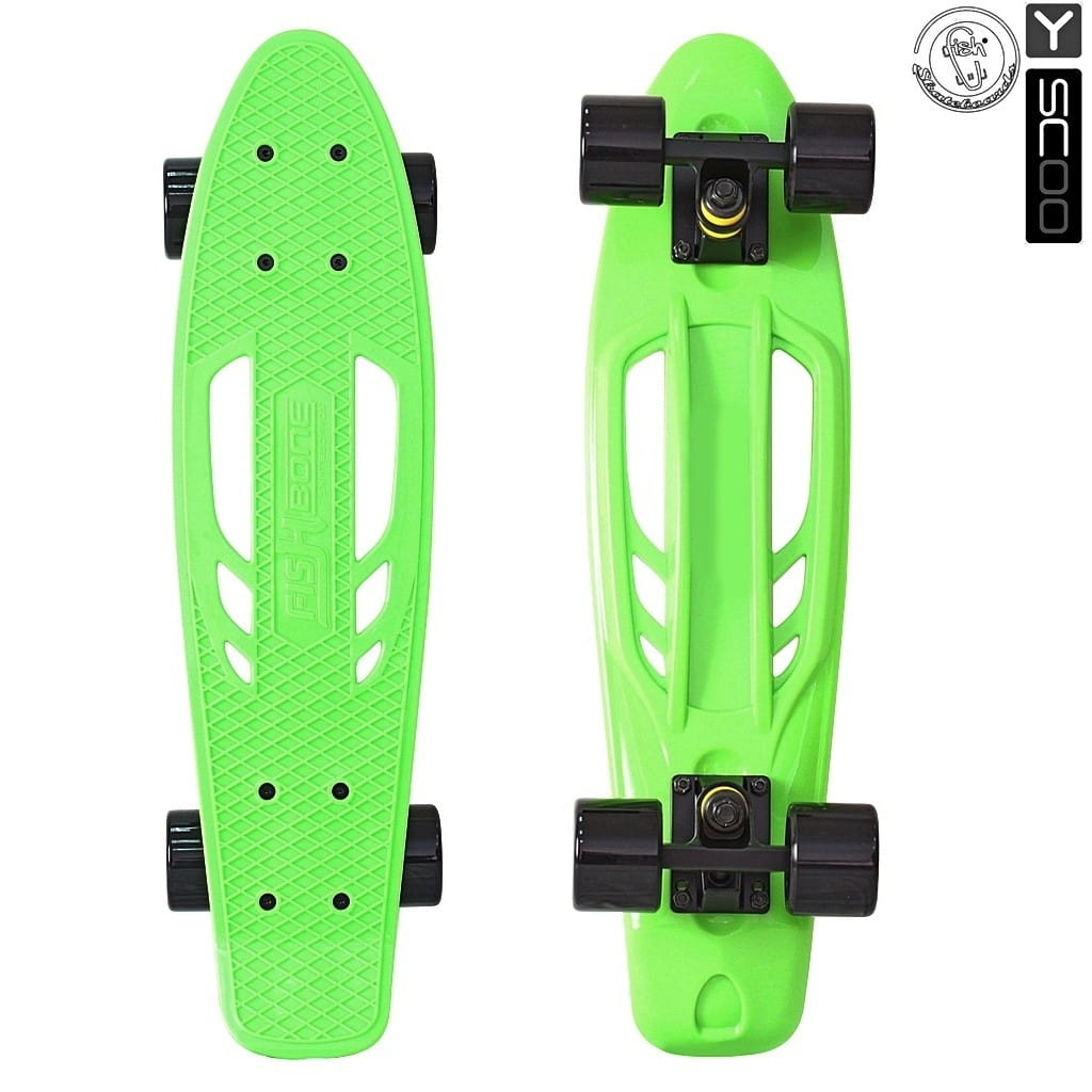 Скейтборд Y-Scoo 5825 Skateboard Fishbone 22 дюйма - Green-black