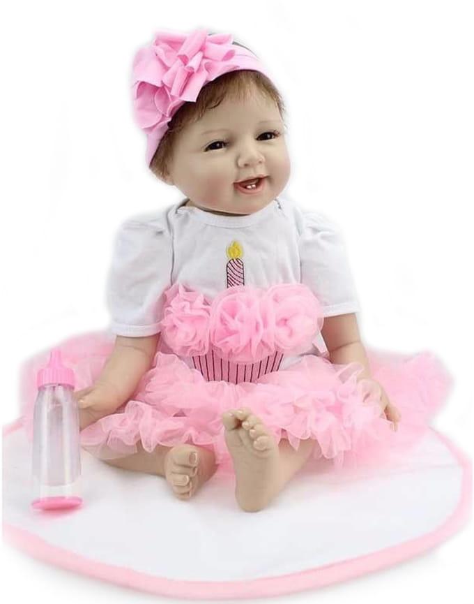 Кукла-пупс Reborn Kids Дашенька - 55 см (в розовом платье, с повязкой на голове)