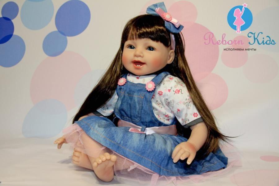Кукла REBORN KIDS Василиса - 55 см (в кофточке, шортах и сарафане, с повязкой на голове)