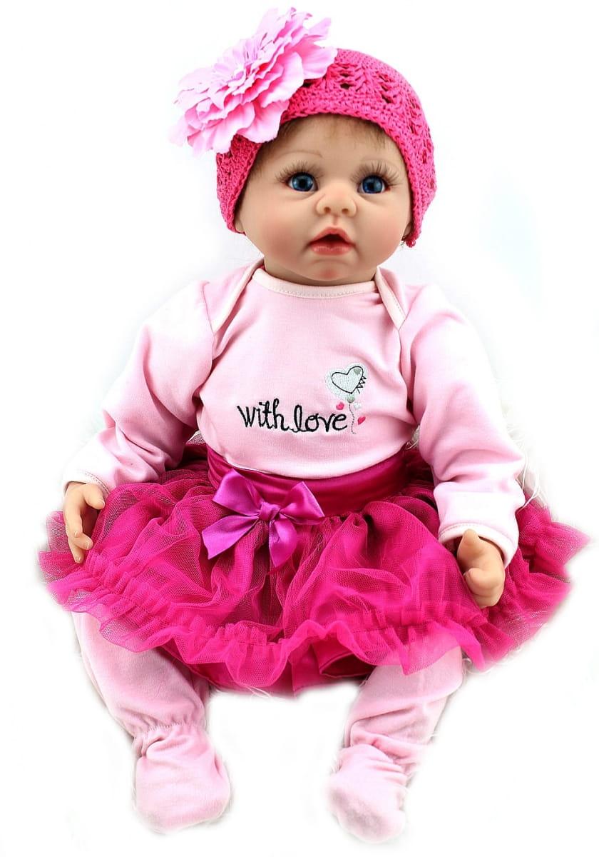 Кукла-пупс REBORN KIDS Миланочка - 55 см (в розовом костюме, шапочке с большим цветком)