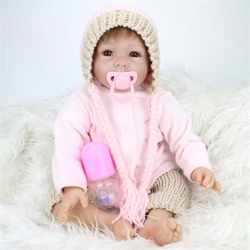 Кукла-пупс REBORN KIDS Мариночка - 55 см (в кофточке, вязаных штанах и вязаной шапочке)