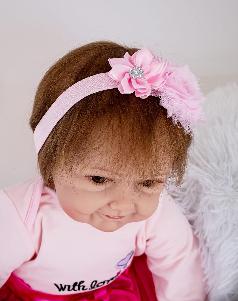 Кукла-пупс REBORN KIDS Любаша - 55 см (в розовом платье, с повязкой на голове)