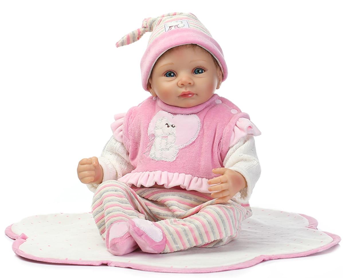 Кукла-пупс REBORN KIDS Ксюша - 55 см (в розовом комбинезончике с юбкой, повязкой или шапочкой на голове)