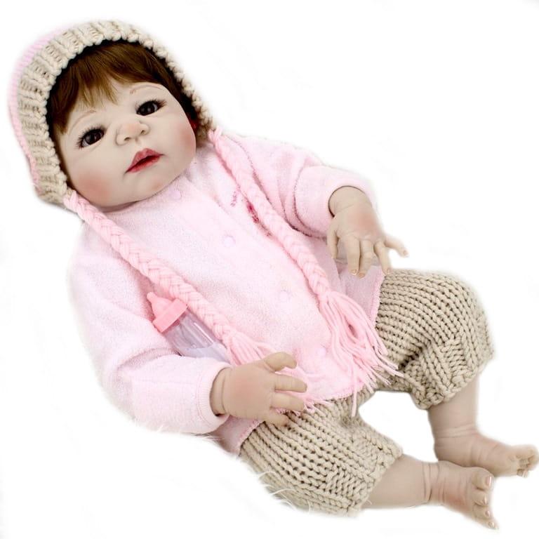 Кукла-пупс REBORN KIDS Лерочка - 55 см (в костюмчике, с розовой шапочкой)