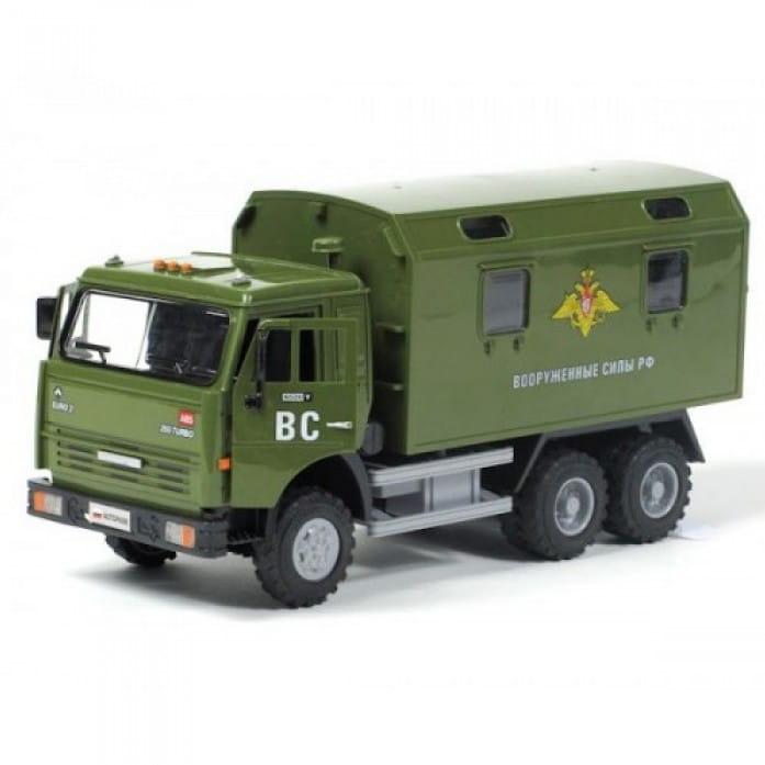 Инерционный автомобиль Play Smart Р41433 Автопарк - КАМАЗ Вооруженные силы РФ (23 см)