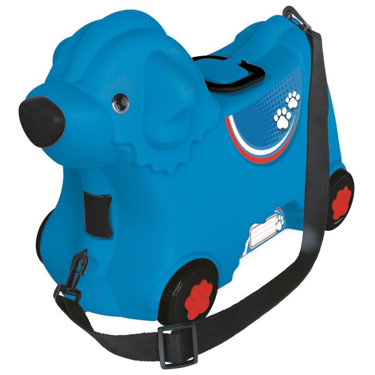 Детский чемодан Big на колесах - Собачка (синий)