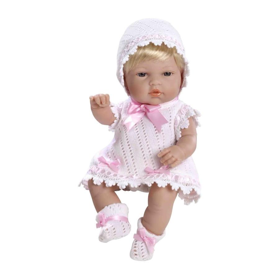 Пупс Arias Т59268 Блондинка в белом вязаном платье с розовым бантом - 33 см