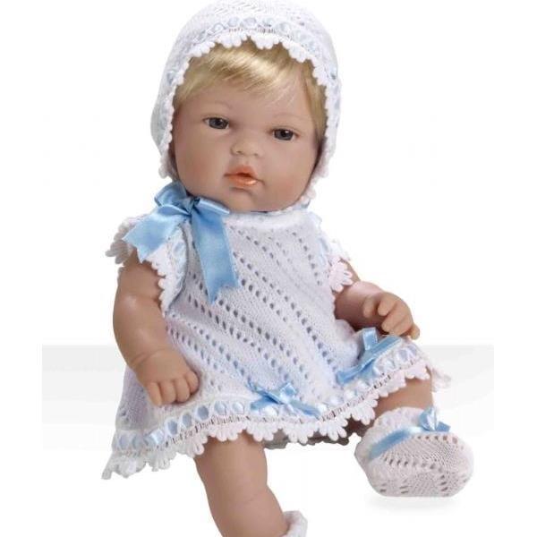 Пупс Arias Т59269 Блондинка в белом вязаном платье с голубым бантом - 33 см