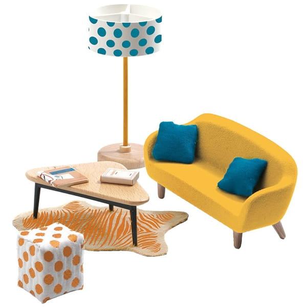 Набор мебели для домика Djeco 07822 Оранжевая гостиная