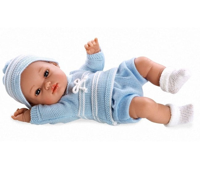 Пупс Arias Т59278 в голубом вязаном костюмчике и шапочке - 33 см