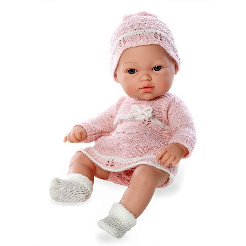 Пупс Arias Т59279 в розовом вязаном платье и шапочке - 33 см