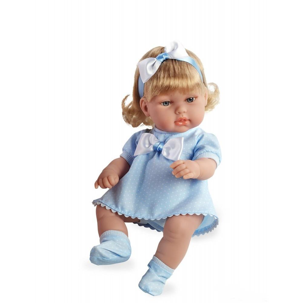 Пупс Arias Т59280 Блондинка в голубом платье с бантом - 33 см