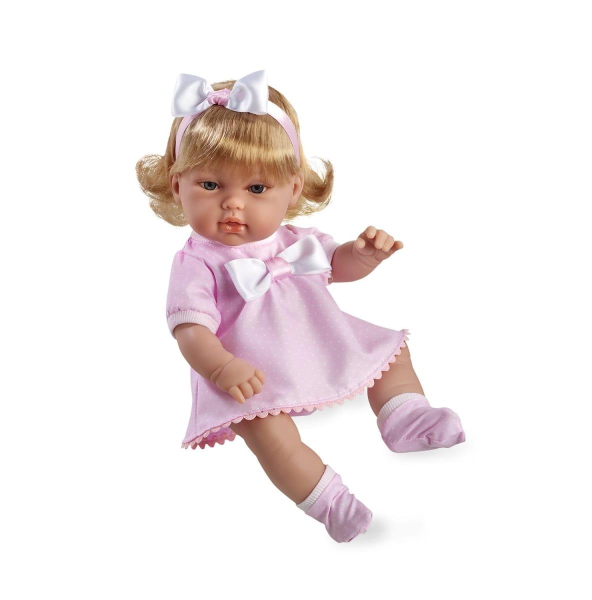 Пупс Arias Т59281 Блондинка в розовом платье с бантом - 33 см